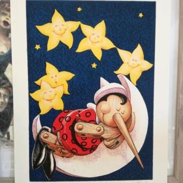 Pinocchio con le stelle e la luna