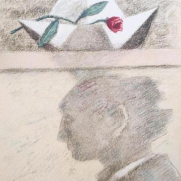 Figura maschile con barchetta e rosa
